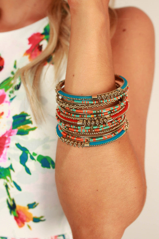 Boho Divine Bracelet Set in Teal