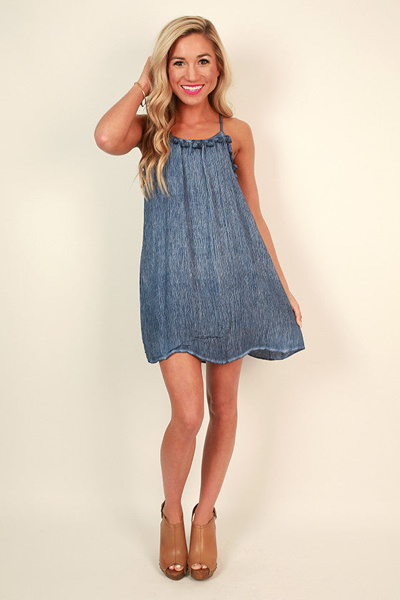 Beach Breeze Tassel Shift Dress