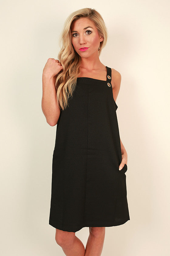 Cocktails in the City Grommet Shift Dress in Black