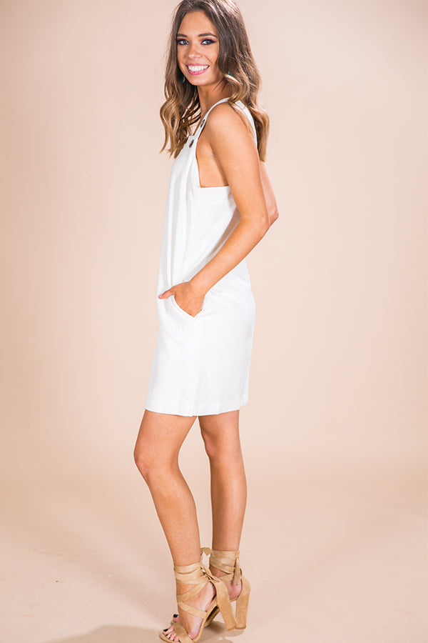 Cocktails in the City Grommet Shift Dress in White