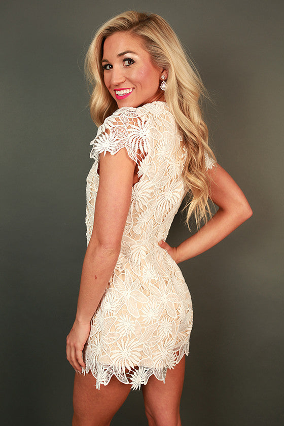 Lovely Lilies Crochet Romper in White