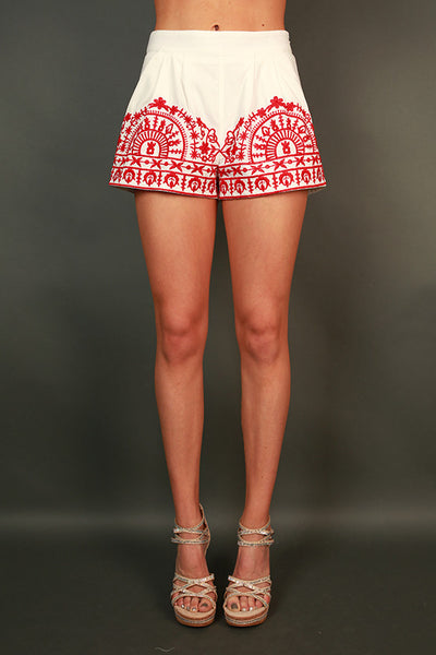 Weekend Adventure Shorts In Red Impressions Online Women