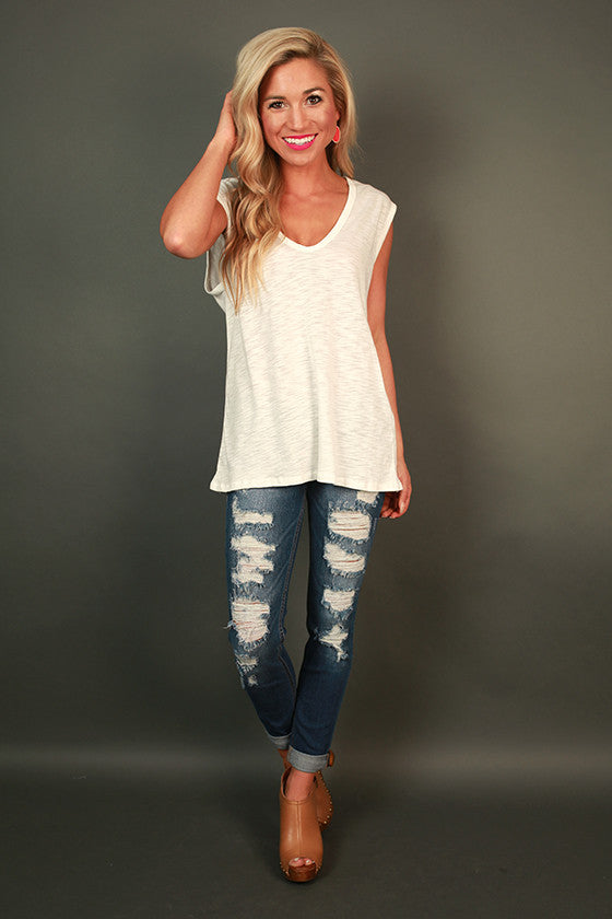 Natural Beauty Deep V-Tee in White