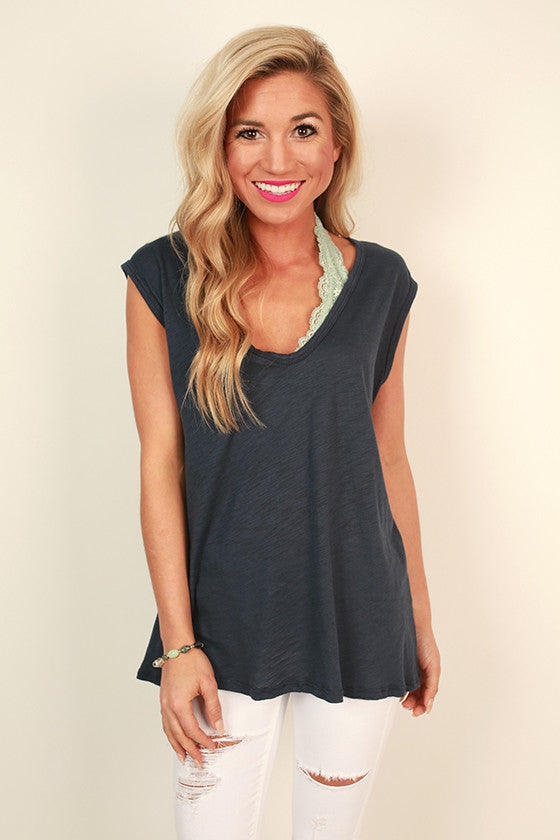 Natural Beauty Deep V-Tee in Indigo