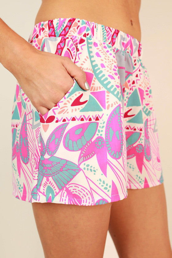 Bahama Mama Print Shorts in Hot Pink