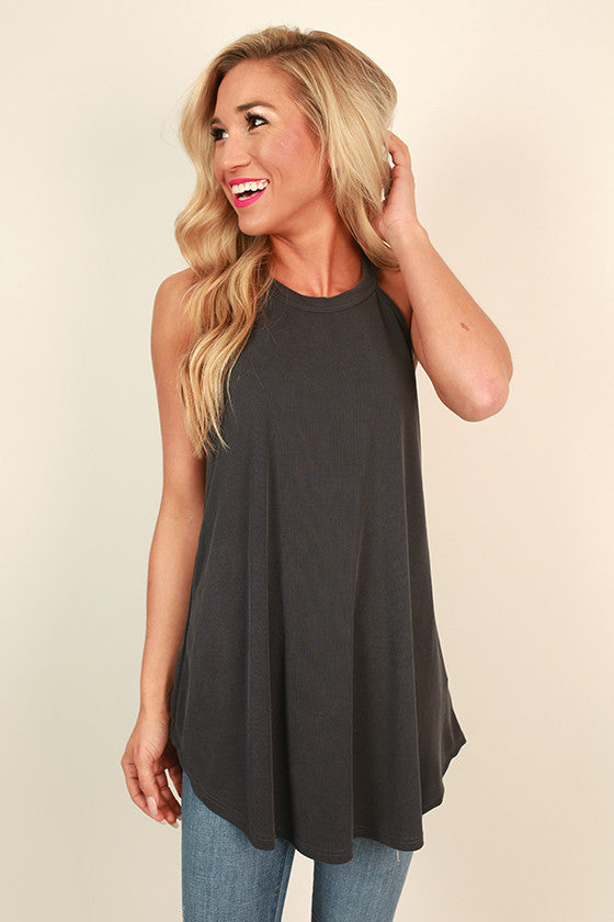 Fashion Week Shift Tank in Charcoal