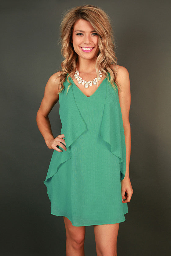 Southern Sangria Shift Dress in Light Emerald