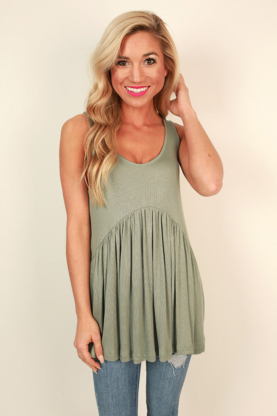 Concert Season Babydoll Tank in Pear
