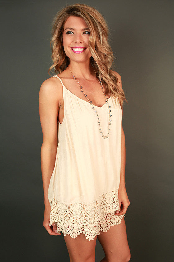 Out & about Crochet Romper in Champagne