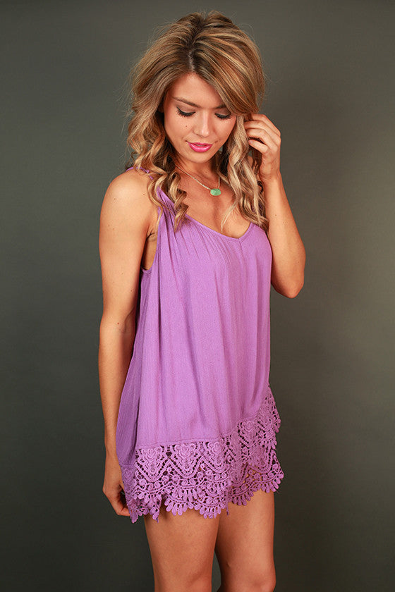 Out & about Crochet Romper in Orchid