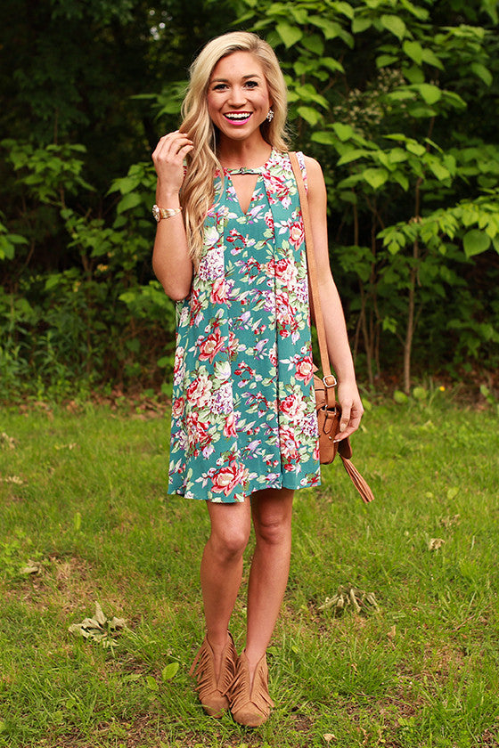 Garden of Goodness Floral Shift Dress in Teal