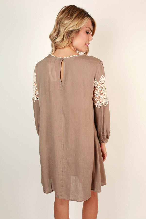 The Best Of Times Crochet Shift Dress in Iced Coffee