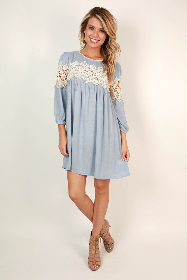 The Best Of Times Crochet Shift Dress in Sky Blue