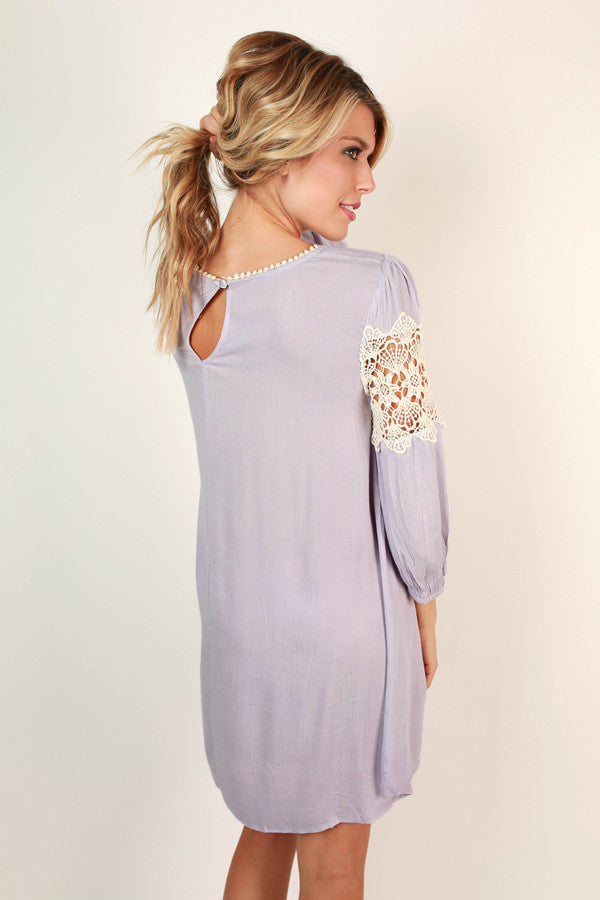 The Best Of Times Crochet Shift Dress in Lavender