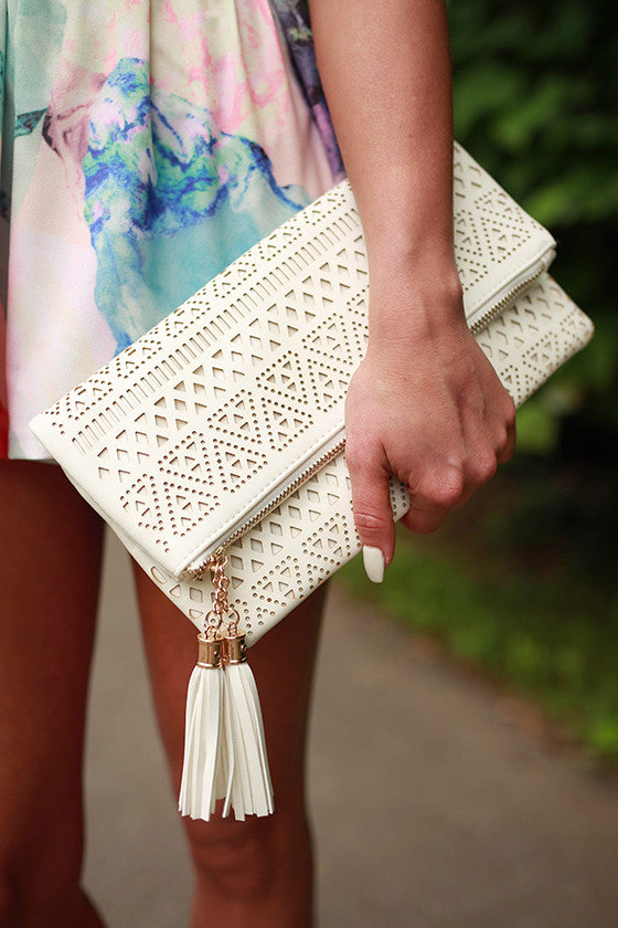 Paris Posh Clutch in Ivory