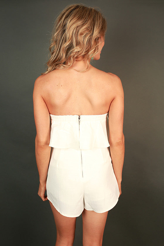 Chic and Cocktails Ruffle Romper in White