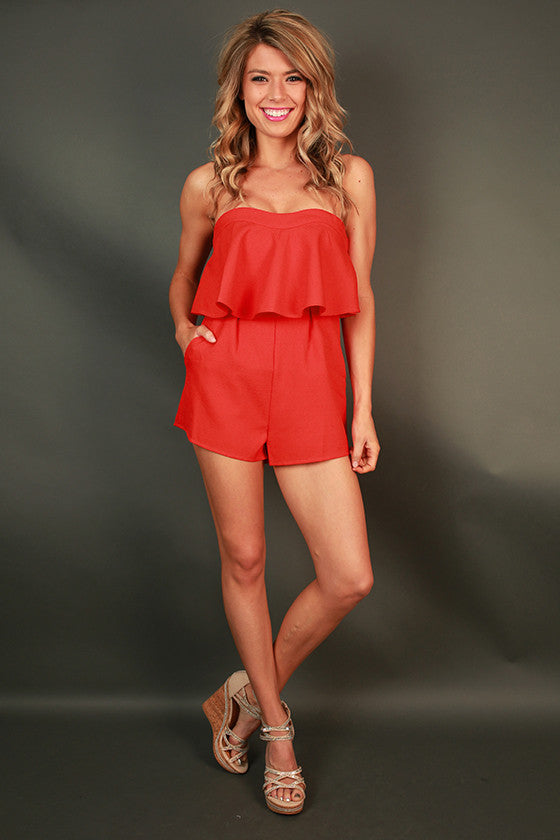 Chic and Cocktails Ruffle Romper in Red