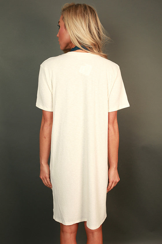 LA Livin' Ribbed Shift Tunic in Ivory