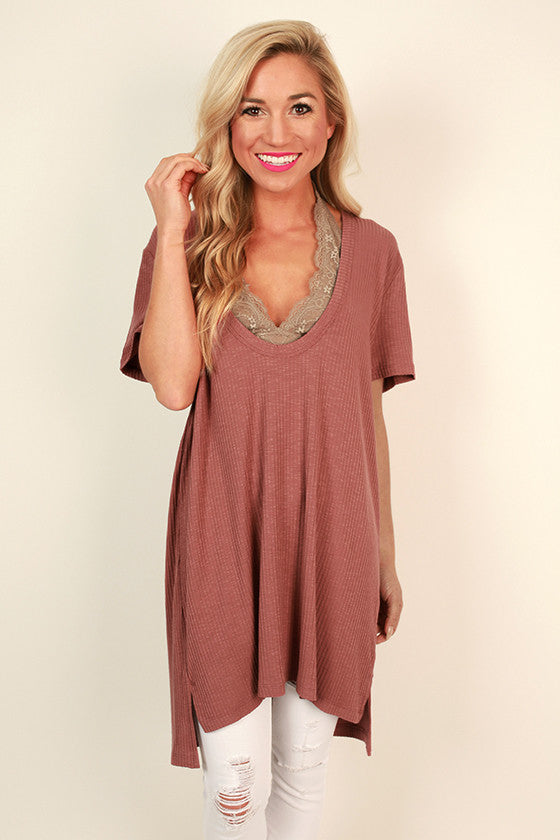 LA Livin' Ribbed Shift Tunic in Rust