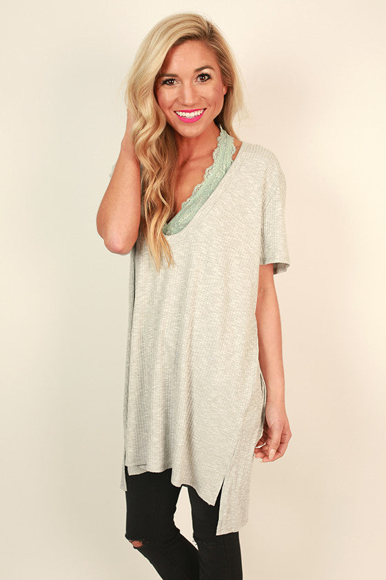 LA Livin' Ribbed Shift Tunic in Grey