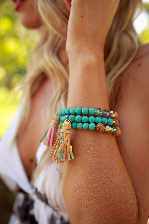 Adore You Tassel Bracelet in Turquoise