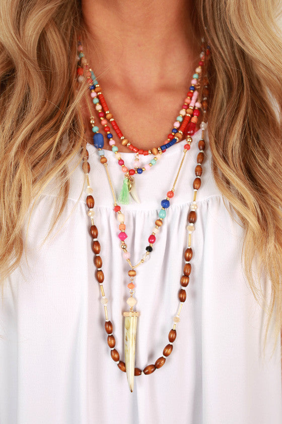 Boho Beautiful Layered Necklace in Brown