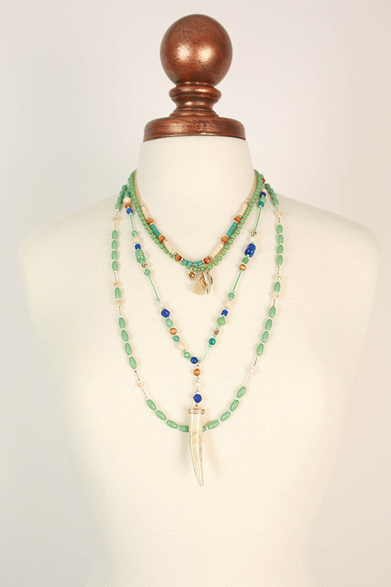 Boho Beautiful Layered Necklace in Mint