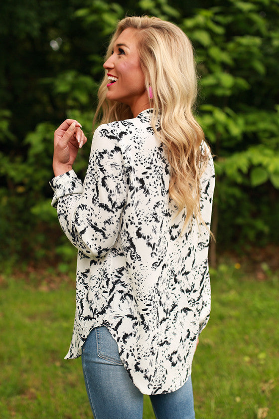 Juniper Darling Print Snap Top