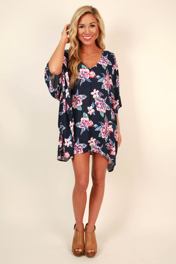 The Harper Tunic in Navy Cabo San Floral