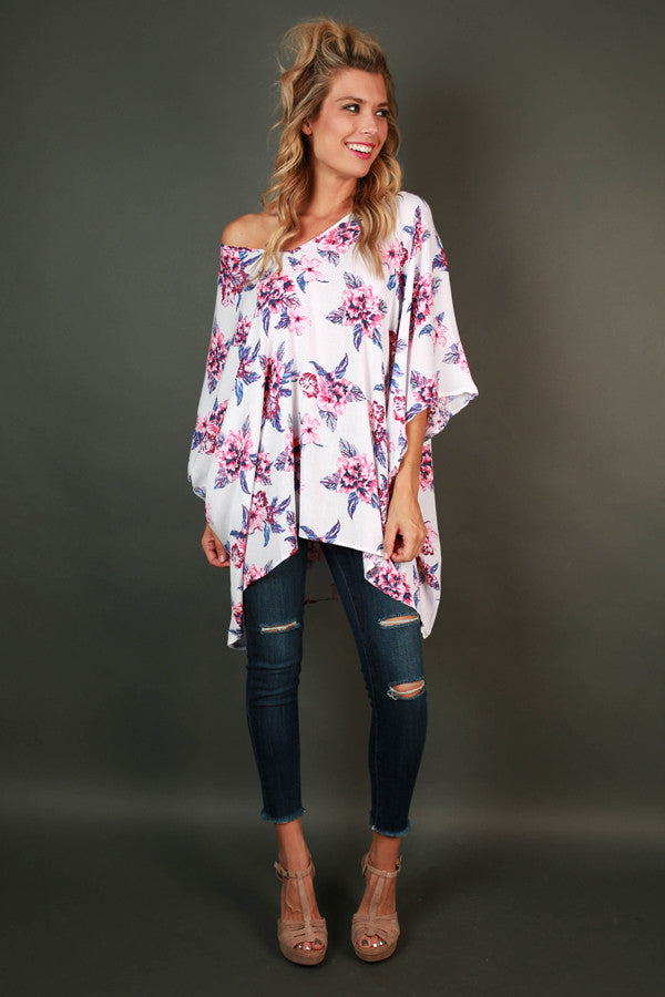 The Harper Tunic in White Cabo San Floral
