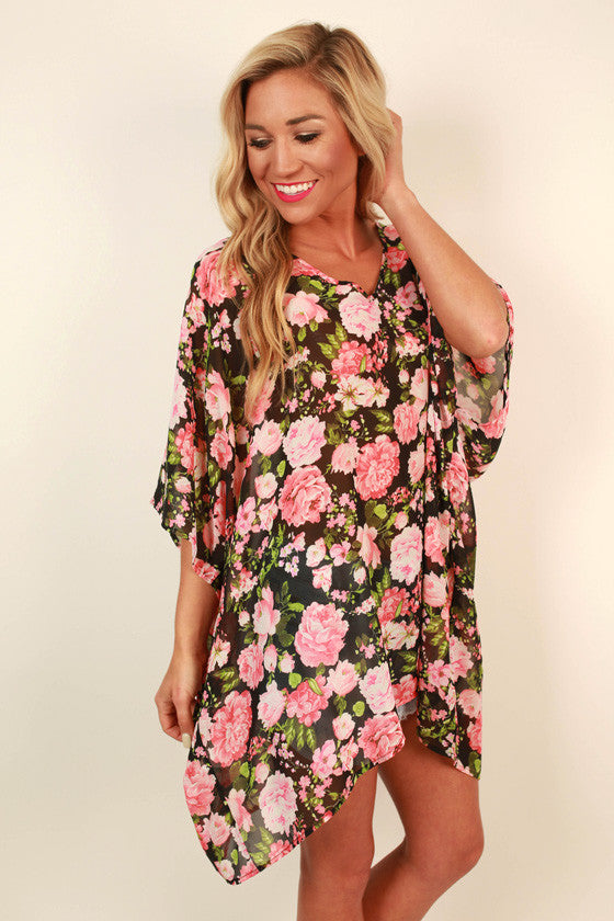 The Harper Chiffon Tunic in Rosie Belle Floral