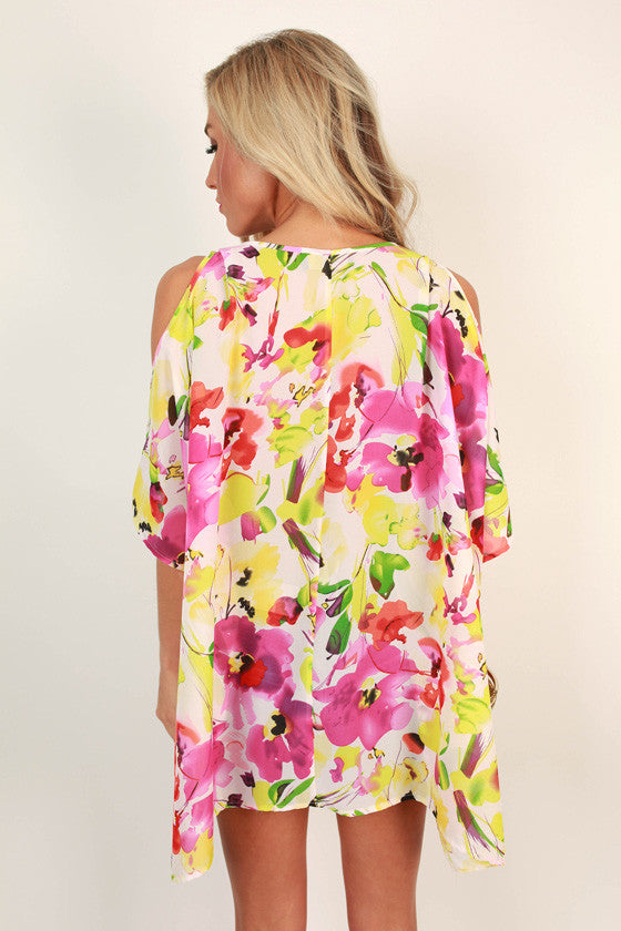 The Waverly Chiffon Tunic in Raspberry Lemonade Floral
