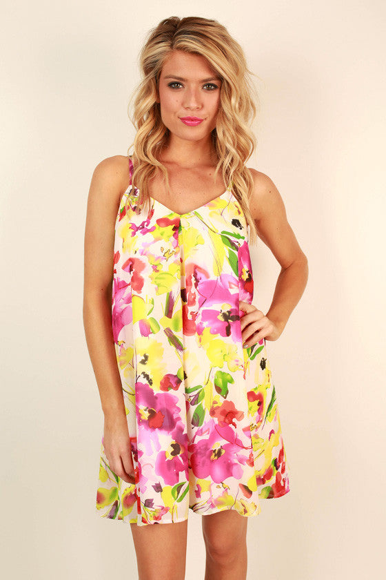 The Ivy Chiffon Shift Dress in Raspberry Lemonade Floral