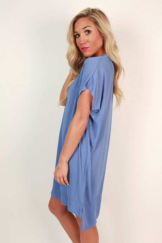 Traveling Abroad Shift Dress in Periwinkle