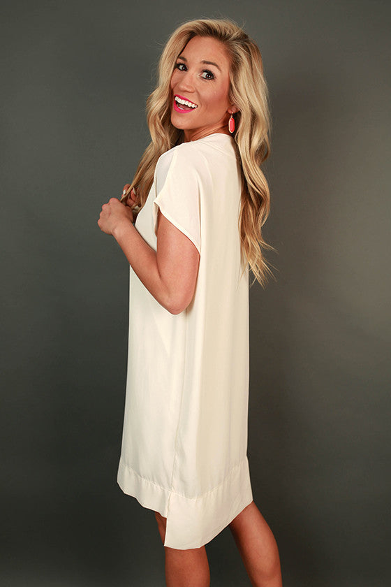 Traveling Abroad Shift Dress in Cream