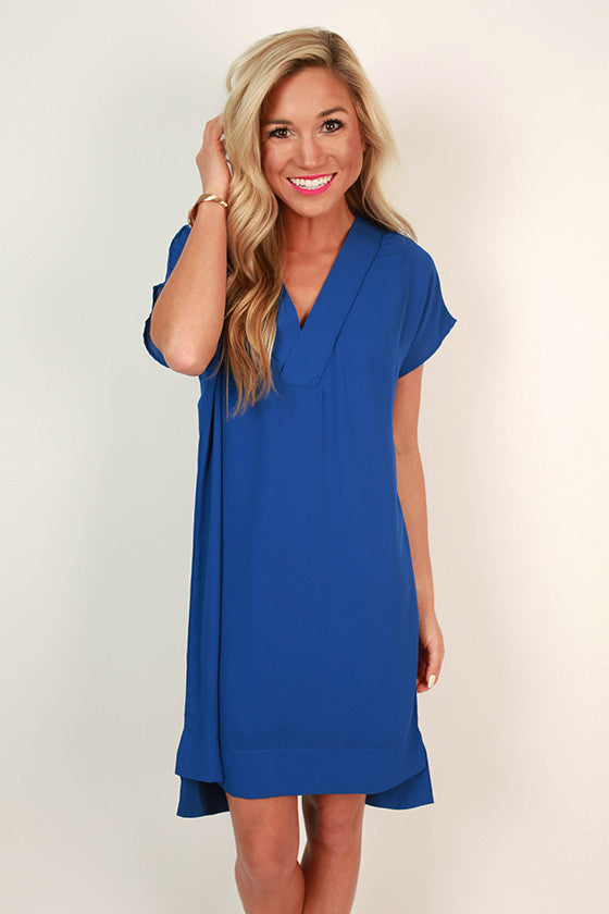 Traveling Abroad Shift Dress in Royal Blue