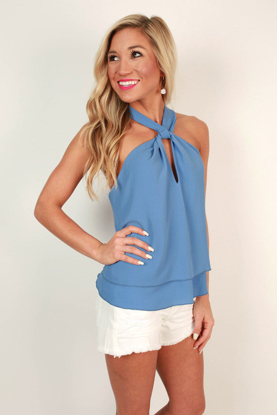 Martini Love Top in Sky Blue