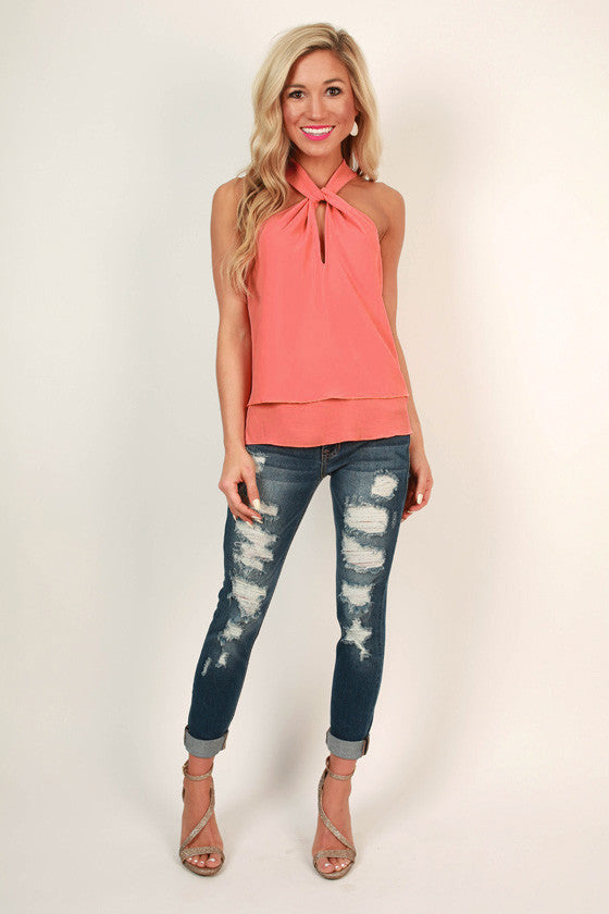 Martini Love Top in Coral