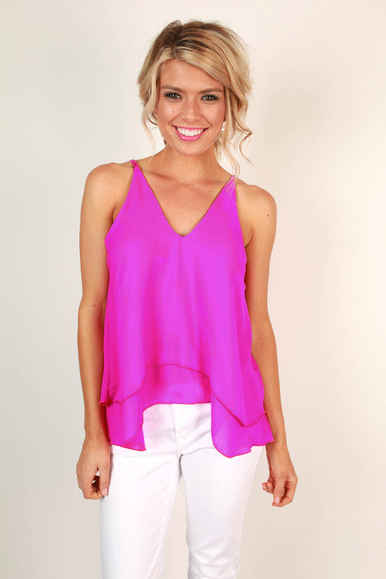 Friday I'm in Love Shift Tank in Fuchsia