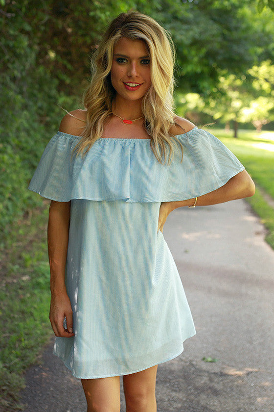 Social Times Off Shoulder Seersucker Dress