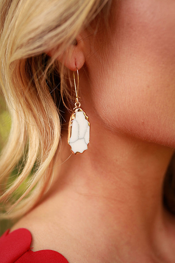 New Favorite Stone Earrings in White