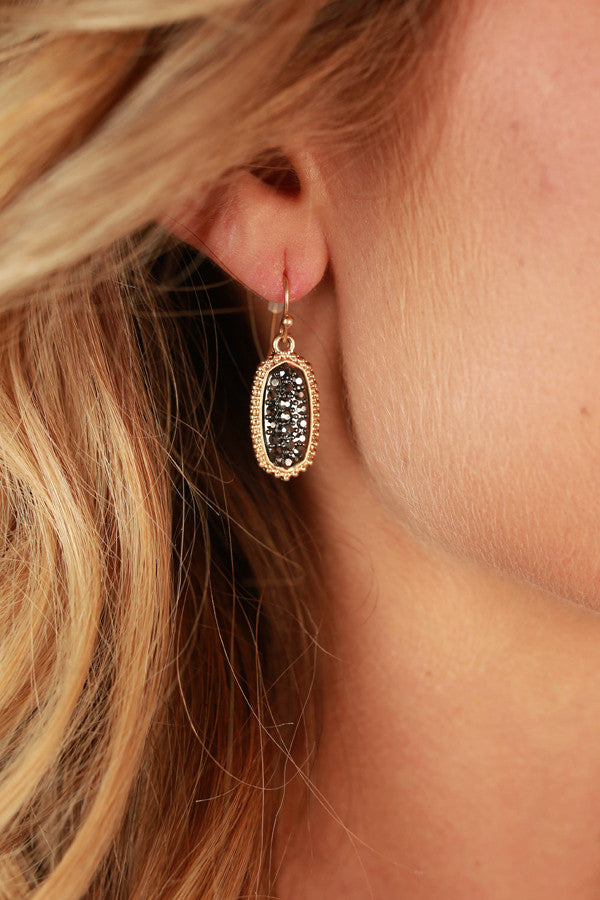 Pretty Please Pave Earrings in Black