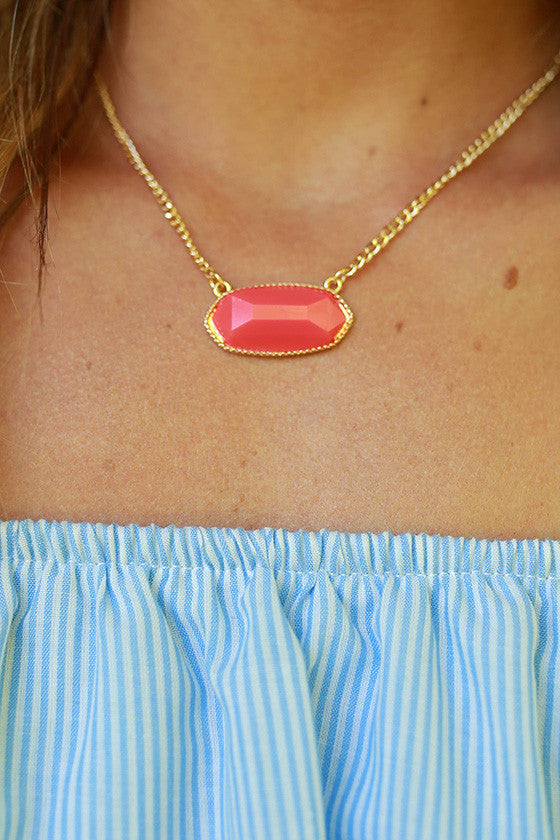 Sunny Side Chic Stone Necklace in Fiesta