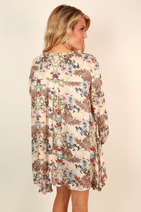 Meet Me In The Meadow Floral Shift Tunic in Nude