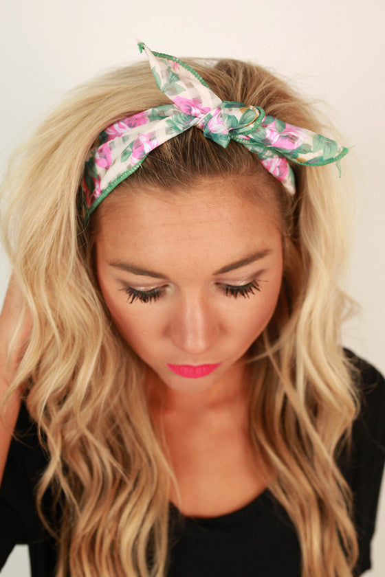 Floral Friendly Headband in Pear