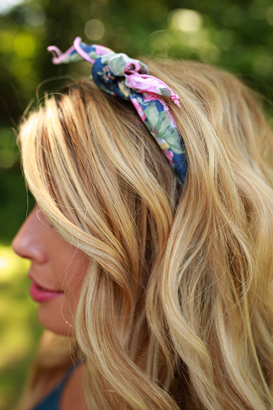 Floral Friendly Headband in Blue