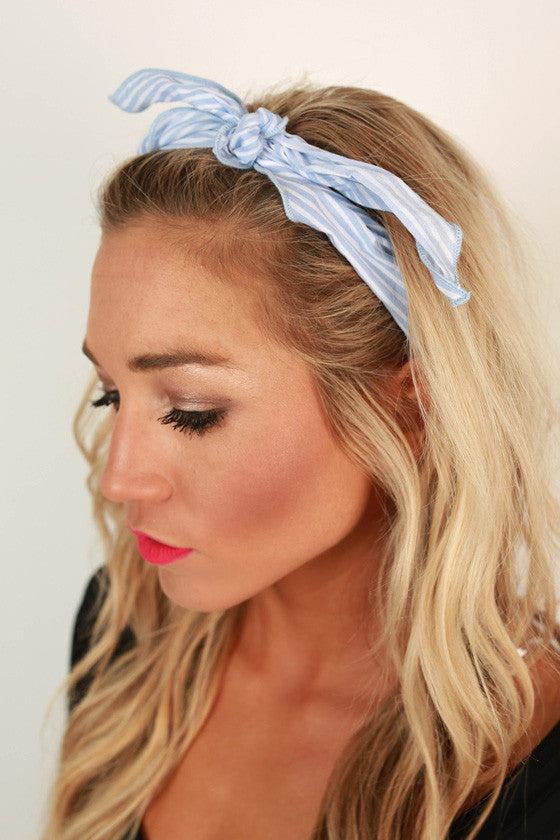 Sailor Stripe Bandana in Light Blue