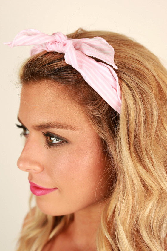 Sailor Stripe Bandana in Light Pink