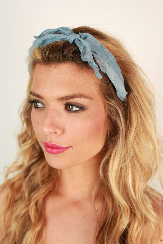 Ocean Mist Bandana in Light Chambray