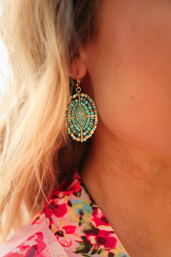 Sunday Sparkle Crystal Earrings in Turquoise